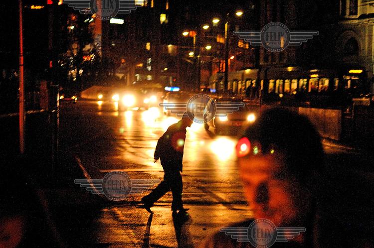 Pedestrians in the Galata District.