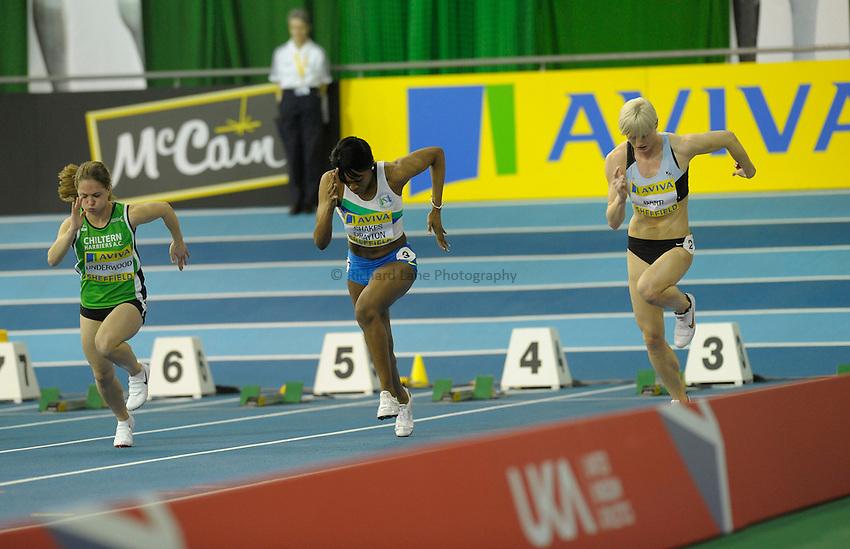 Photo: Ady Kerry / RichardLane Photography.Start of the 60m L-R Clarice Underwood, Perri Shakes Drayton and Vicky Barr Aviva European Trials & UK Championships Athletics, 14/02/2009