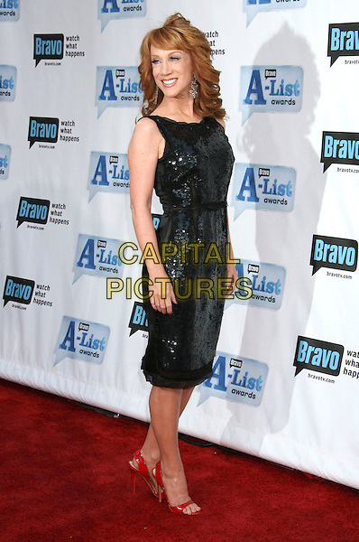 "KATHY GRIFFIN .Bravo's 2nd Annual ""The A-List Awards"" held at The Orpheum Theatre, Los Angeles, CA, USA, 5th April 2009..full length sequined shiny dress red patent open toe shoes back over shoulder .CAP/ADM/MJ.©Michael Jade/Admedia/Capital Pictures"