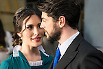 """Yara Puebla and Angel de Miguel  during the presentation of the new characters for the new season of the tv series """"El Secreto de Puente Viejo""""  in Madrid, February 10, Madrid."""