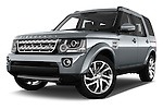 Stock pictures of low aggressive front three quarter view of 2016 Land Rover Discovery HSE 5 Door Suv Low Aggressive