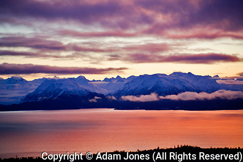 Kachemak Bay and Kenai Mountains during winter sunset from Homer, Alaska