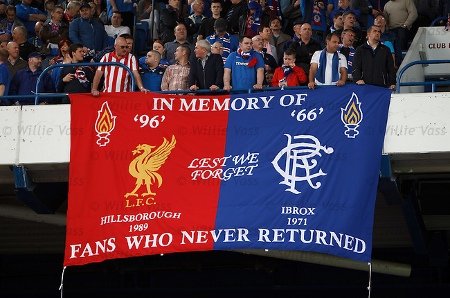 Memorial banner for the victims of Hillsborough and the Ibrox Disasters