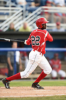 Batavia Muckdogs shortstop Javier Lopez (22) at bat during a game against the Jamestown Jammers on July 7, 2014 at Dwyer Stadium in Batavia, New York.  Batavia defeated Jamestown 9-2.  (Mike Janes/Four Seam Images)