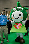 """DECEMBER 10, 2009 - TOKYO - JAPAN: """"Do You Kyoto ?"""" mascot poses for posees or the photograph during the Eco-Product 2009 in Tokyo Big Sight. Some 700 exhibitors introduce their consumer goods, industrial materials, energies, finance and various services during three days. New environmental technologies and services that aim to change conventional wisdom, and new business models that aim to solve specific problems, including company coalitions and regional cooperation are displaying. In addition, 20,000 students in the Kanto Region as a school activity, and families can experience the low-carbon lifestyle of the near-future. 180,000 visitors are expected to attend (photo by Laurent Benchana/Nippon News)."""
