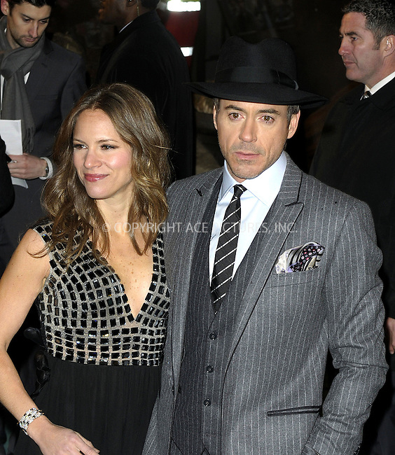 "WWW.ACEPIXS.COM . . . . .  ..... . . . . US SALES ONLY . . . . .....December 14 2009, New York City....Robert Downey Jr and Susan Downey at the premiere of ""Sherlock Holmes"" on December 14 2009 in London....Please byline: FAMOUS-ACE PICTURES... . . . .  ....Ace Pictures, Inc:  ..Craig Ashby (212) 243-8787..e-mail: picturedesk@acepixs.com..web: http://www.acepixs.com"