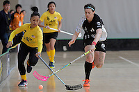 Malaysia's Nurfarah Syahira Binti Md Yusof and New Zealand's Anita Jones in action during the World Floorball Championships 2017 Qualification for Asia Oceania Region - New Zealand v Malaysia at ASB Sports Centre , Wellington, New Zealand on Saturday 4 February 2017.<br /> Photo by Masanori Udagawa<br /> www.photowellington.photoshelter.com.