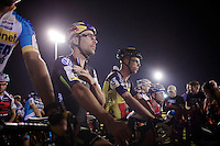 Tim Johnson (USA/Cannondale) next to Sven Nys (BEL/Crelan-AAdrinks) on the start grid<br /> Sven having some ice cubes down his neck to keep cool.<br /> <br /> Cross Vegas 2014