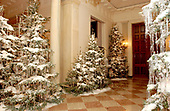 The White House Christmas decorations were shown to the press on December 3, 2001.  Even though the Executive Mansion has been closed to tourists since the 9/11 terrorist attacks, the annual ritual of decorating the house continues.   General view of the Cross Hall decorations looking towards the East Room.<br /> Credit: Ron Sachs / CNP