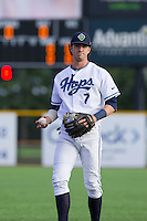 Dansby Swanson (7) of the Hillsboro Hops plays catch prior to a game against the Tri-City Dust Devils at Ron Tonkin Field in Hillsboro, Oregon on August 24, 2015.  Tri-City defeated Hillsboro 5-1. (Ronnie Allen/Four Seam Images)