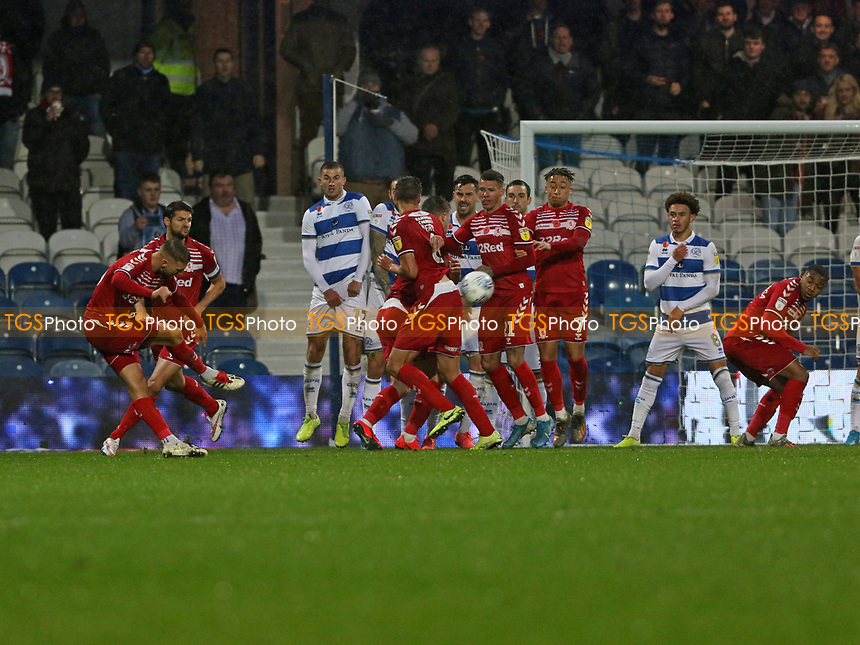 Lewis Wing of Middlesbrough freekick goes wide during Queens Park Rangers vs Middlesbrough, Sky Bet EFL Championship Football at Loftus Road Stadium on 9th November 2019