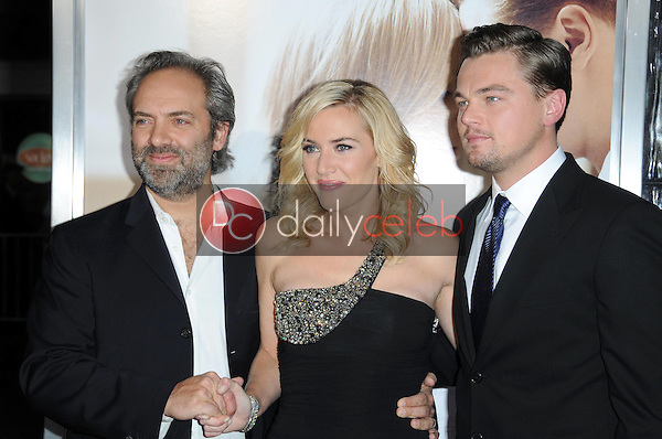Sam Mendes with Kate Winslet and Leonardo DiCaprio <br /> at the World Premiere of 'Revolutionary Road'. Mann Village Theater, Westwood, CA. 12-15-08<br /> Dave Edwards/DailyCeleb.com 818-249-4998