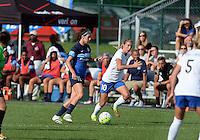 Kansas City, MO - Sunday August 28, 2016: Erika Tymrak, Louise Schillgard during a regular season National Women's Soccer League (NWSL) match between FC Kansas City and the Boston Breakers at Swope Soccer Village.