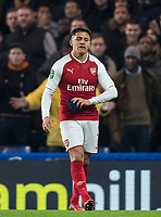 Alexis Sanchez of Arsenal before throwing his gloves during the Carabao Cup semi final 1st leg match between Chelsea and Arsenal at Stamford Bridge, London, England on 10 January 2018. Photo by Andy Rowland.