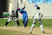Afghanistan V UAE - World T20 Super Four stage qualifying cricket match in Dubai Sports City Cricket Stadium - Afghan player Asghar Stanikzai hits one of his two sixes late in the game, cementing his side's lead in the match and beating the UAE by 4 wickets, thereby qualifying for the World T20 in the West Indies in April and May - Picture by Donald MacLeod 13.02.10