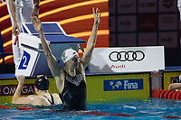 Katinka Hosszu of Hungary celebrates after winning the Women's 200m Individual Medley final at the FINA Champions Swim Series at the Danube Arena in Budapest, Hungary on May 12, 2019. ATTILA VOLGYI