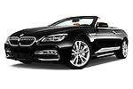 Stock pictures of low aggressive front three quarter view of 2015 BMW 6 Series 640i 2 Door Convertible Low Aggressive