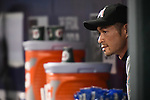 Ichiro Suzuki (Marlins),<br /> SEPTEMBER 14, 2015 - MLB :<br /> Ichiro Suzuki of the Miami Marlins watches from the dugout during the Major League Baseball game against the New York Mets at Citi Field in Flushing, New York, United States. (Photo by Hiroaki Yamaguchi/AFLO)