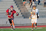 Mission Viejo, CA 05/11/11 - Alex Waller (St Margaret #17) and Chance Cooper (Foothill-Santa Ana #19) in action during the St Margaret-Foothill boys varsity lacrosse game at Mission Viejo High School for the 2011 CIF Southern Section South Division Championship.  Foothill defeated St Margaret 15-10.