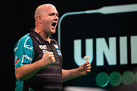 27th October 2019, Gottingen, Lower Saxony, Germany:  PDC European Championships; Semi-final rounds. Rob Cross of England celebrates as he beats Gurney to make the final