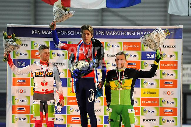 GRONINGEN - Schaatsen - NK Marathon dames en heren, Sportcentrum Kardinge, 04-01-2015 Marcel van ham, Jorrit Bergsma en Gary Hekman