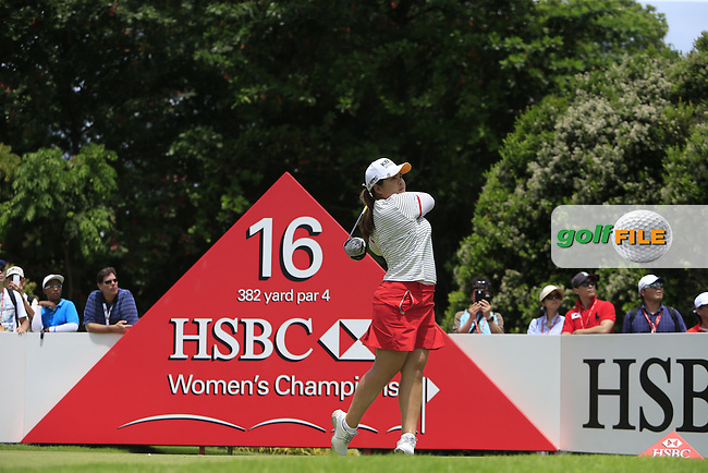 Inbee Park (KOR) on the 16th tee during Round 3 of the HSBC Women's Champions at the Sentosa Golf Club, The Serapong Course in Singapore on Saturday 7th March 2015.<br /> Picture:  Thos Caffrey / www.golffile.ie
