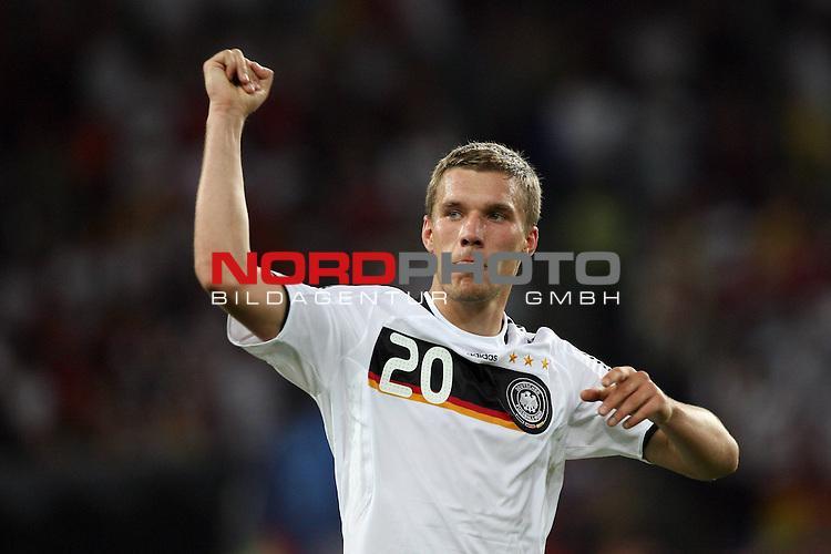 UEFA Euro 2008 Quarter-Finals Match 25 Basel - St. Jakob-Park. Portugal ( POR ) - Deutschland ( GER ) 2:3 (1:2). <br /> Lukas Podolski ( Germany / Angreifer / Forward / Bayern Muenchen #20 ) streckt die Faust nach oben.<br /> Foto &copy; nph (  nordphoto  )