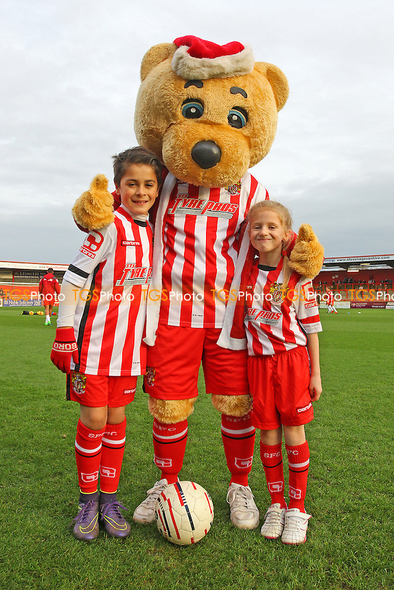 Boro Bear with the match day mascots during Stevenage vs Accrington Stanley, Sky Bet League 2 Football at the Lamex Stadium, Stevenage, England on 19/12/2015