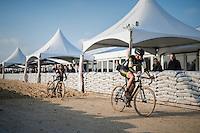 Ellen Van Loy (BEL/Telenet-Fidea) & Jolien Verschueren (BEL/Telenet-Fidea) coming out of the sand<br /> <br /> Elite Women's Race<br /> Soudal Jaarmarktcross Niel 2016