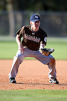 December 29, 2009:  Aaron Muendlein (02) of the Baseball Factory 49ers team during the Pirate City Baseball Camp & Tournament at Pirate City in Bradenton, FL.  Photo By Mike Janes/Four Seam Images