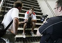 PICTURE BY VAUGHN RIDLEY/SWPIX.COM - Rugby League - Rugby League World Cup 2008 - England/Papua New Guinea Press Conference - Council Chambers, Townsville, Australia - 23/10/08...Copyright - Simon Wilkinson - 07811267706...England's Paul Wellens speaks to the media at a pre-match press conference.