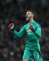 Manchester United's David De Gea celebrates after his side takes the lead<br /> <br /> Photographer Rob Newell/CameraSport<br /> <br /> The Premier League - Tottenham Hotspur v Manchester United - Sunday 13th January 2019 - Wembley Stadium - London<br /> <br /> World Copyright &copy; 2019 CameraSport. All rights reserved. 43 Linden Ave. Countesthorpe. Leicester. England. LE8 5PG - Tel: +44 (0) 116 277 4147 - admin@camerasport.com - www.camerasport.com