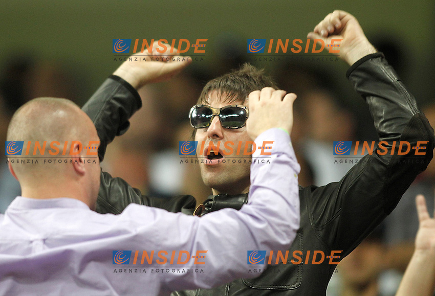 Il cantante Liam Gallagher in tribuna a Madrid per tifare Manchester City, la squadra di cui è tifoso.Madrid 18/9/2012 Stadio Santiago Bernabeu.Football Calcio 2012/2013 Champions League.Real Madrid Vs Manchester City.Foto Alvaro Hernandez / Alterphotos / Insidefoto.ITALY ONLY.
