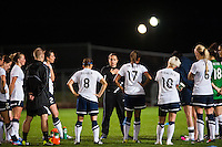 Seattle Reign FC head coach Laura Harvey addresses the team after the match. Sky Blue FC defeated the Seattle Reign FC 2-0 during a National Women's Soccer League (NWSL) match at Yurcak Field in Piscataway, NJ, on May 11, 2013.