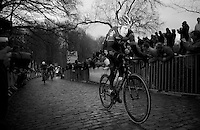 Geraint Thomas (GBR/SKY) over the slippery Kemmelberg cobbles<br /> <br /> 77th Gent-Wevelgem 2015