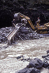 Placer mining for gold, Burwash Creek, Yukon Territory, Canada