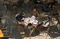 restaurant terrace place du marche saint emilion bordeaux france