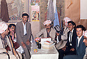 Iraq 1963  .People of Koysanjak meeting in a room peshmergas during the conference of Kurdistan.<br />