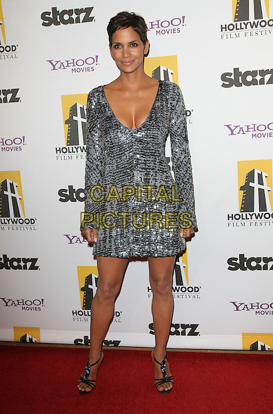 HALLE BERRY.14th Annual Hollywood Awards Gala Presented By Starz held at The Beverly Hilton Hotel, Beverly Hills, CA, USA..October 25th, 2010.full length silver dress sequins sequined bell sleeves gypsy low cut neckline cleavage open toe sandals.CAP/ADM/KB.©Kevan Brooks/AdMedia/Capital Pictures.
