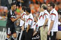 Washington, D.C.- July 20, 2014. Luis Silva (11) of D.C. United comes out of the game. D.C. United defeated Chivas USA 3-1 during a Major League Soccer Match for the 2014 season at RFK Stadium.