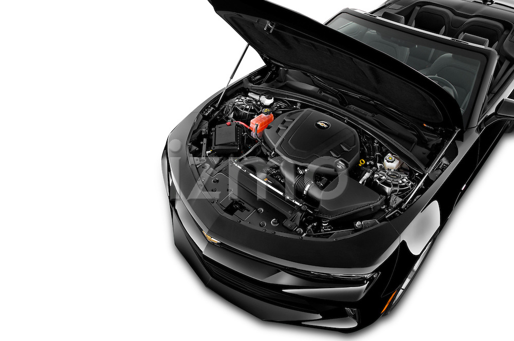 Car Stock 2017 Chevrolet Camaro 2LT 2 Door Convertible Engine  high angle detail view