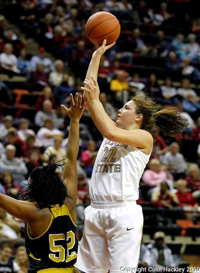 TALLAHASSEE, FL 11/12/10-FSU-ASU WBB 111210 CH-Florida State's Olivia Bresnahan shoots over Alabama State's Kimberly Hunter during first half action Friday at the Donald L. Tucker Center in Tallahassee...COLIN HACKLEY PHOTO