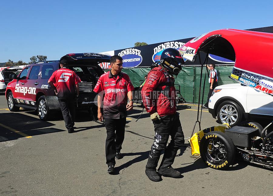 Jul. 29, 2011; Sonoma, CA, USA; NHRA funny car driver Cruz Pedregon during qualifying for the Fram Autolite Nationals at Infineon Raceway. Mandatory Credit: Mark J. Rebilas-