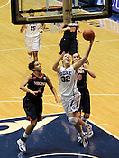 Tricia Liston makes a layup late in the first half. Liston lead the Blue Devils in scoring with 18 total points. Duke woman's basketball beat Virginia 77-66 on Monday, January 2, 2012 at Cameron Indoor Stadium in Durham, NC. Photo by Al Drago.