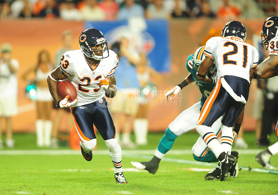 Nov. 18, 2010;  Miami, FL, USA; Chicago Bears wide receiver (23) Devin Hester against the Miami Dolphins at Sun Life Stadium. Mandatory Credit: Mark J. Rebilas-