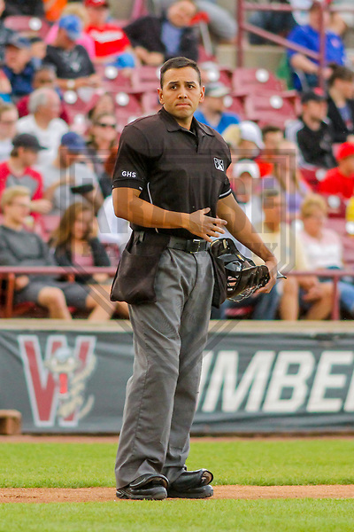 Home plate umpire Raul Moreno during a Midwest League game between the Quad Cities River Bandits and the Wisconsin Timber Rattlers on June 8, 2017 at Fox Cities Stadium in Appleton, Wisconsin.  Wisconsin defeated Quad Cities 8-3. (Brad Krause/Krause Sports Photography)