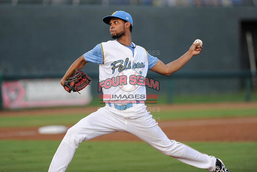 Pitcher Luis Parra (7) of the Myrtle Beach Pelicans in a game against the Potomac Nationals on Friday, August 9, 2013, at TicketReturn.com Field in Myrtle Beach, South Carolina. Myrtle Beach won, 3-2. (Tom Priddy/Four Seam Images)