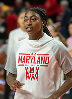 COLLEGE PARK, MD - NOVEMBER 20: Diamond Miller #14 of Maryland before the game during a game between George Washington University and University of Maryland at Xfinity Center on November 20, 2019 in College Park, Maryland.