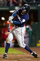 Anthony Seratelli (2) of the Northwest Arkansas Naturals crushes a pitch during a game against the Springfield Cardinals on May 13, 2011 at Hammons Field in Springfield, Missouri.  Photo By David Welker/Four Seam Images.