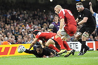 Julian Savea of New Zealand touches down but has his try disallowed for putting his foot in touch during Match 23 of the Rugby World Cup 2015 between New Zealand and Georgia - 02/10/2015 - Millennium Stadium, Cardiff<br /> Mandatory Credit: Rob Munro/Stewart Communications